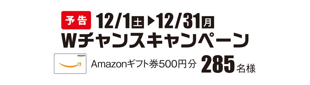 12月1日スタート Wチャンスキャンペーン Amazonギフト券500円分