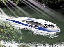 遊覧船デザイン公表 美浜町、五湖で運航再開目指す 太陽光の電池推進船