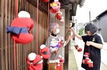 つるし飾り、町家華やぐ 敦賀・博物館通り、コロナ終息願い込め
