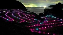 小浜市田烏で棚田キャンドル始まる 幻想的な光の帯、26日まで